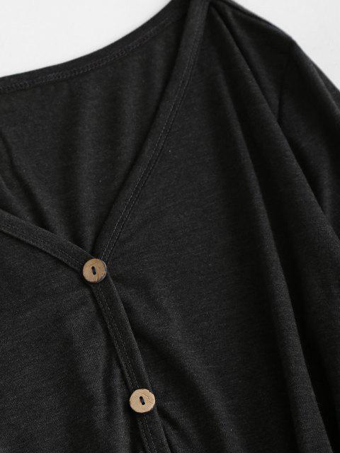 Krawatte Taille Tasche Langarm T-Shirt - Schwarz L Mobile