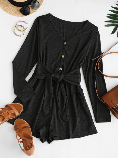 ladies Tie Waist Pocket Long Sleeve Tee Romper - BLACK S Mobile