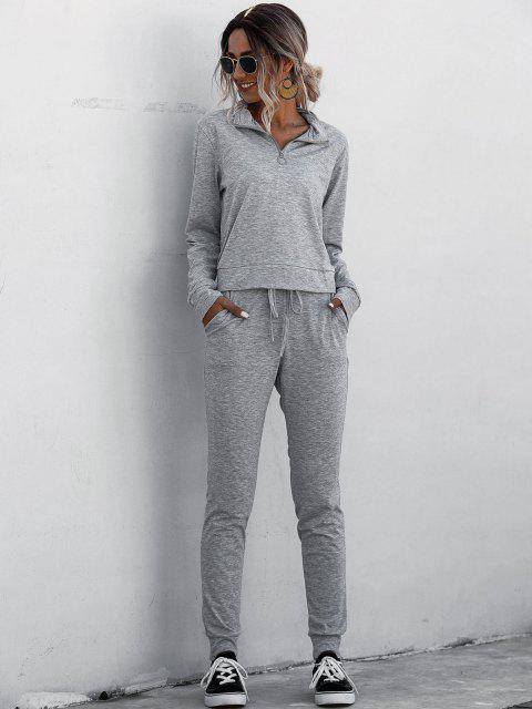latest Half Zip Marled Tracksuit - GRAY M Mobile