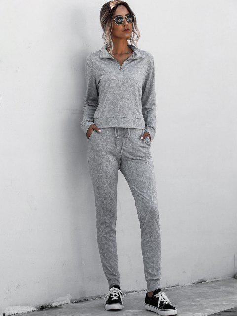 fancy Half Zip Marled Tracksuit - GRAY L Mobile