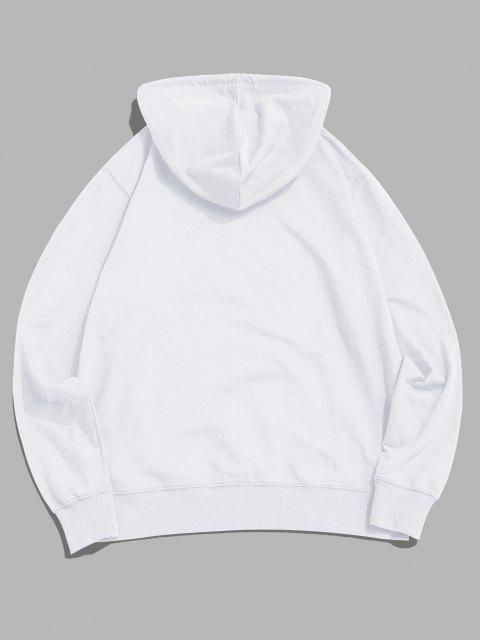 buy Cartoon Bee Graphic Pouch Pocket Pullover Hoodie - WHITE XS Mobile