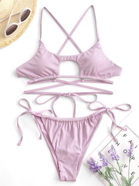 chic ZAFUL Ribbed Wrap-around Underboob Tanga Bikini Swimwear - LIGHT PURPLE M Mobile