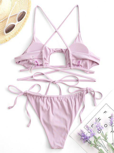 ZAFUL Gerippter Wrap Bikini Badebekleidung mit Erdbeerstrickmuster - Helles Lila M Mobile