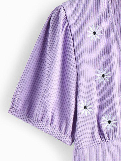 shop ZAFUL Ribbed Daisy Embroidered Plunging Top - PURPLE S Mobile