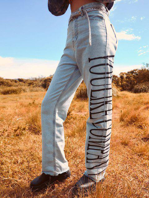 Jeans Rectos Disco con Estampado de Letras - Azul claro XL Mobile