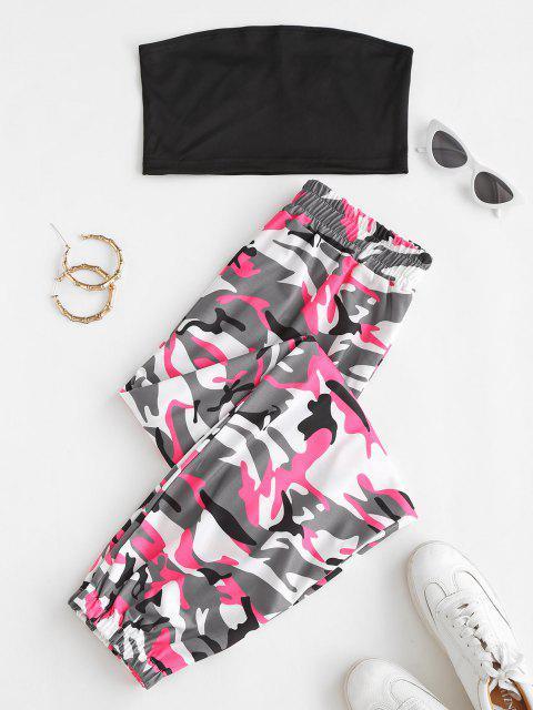 women's Bandeau Top and Camo Jogger Pants Set - BLACK M Mobile