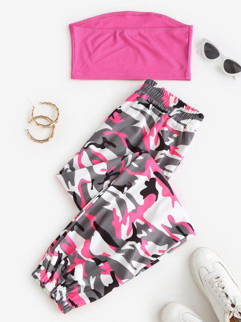 ladies Bandeau Top and Camo Jogger Pants Set - RED XL Mobile