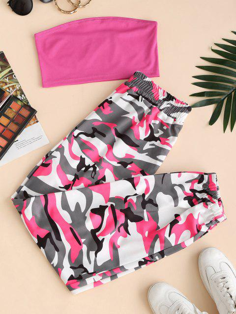 online Bandeau Top and Camo Jogger Pants Set - RED M Mobile