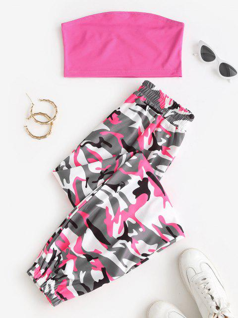 new Bandeau Top and Camo Jogger Pants Set - RED S Mobile