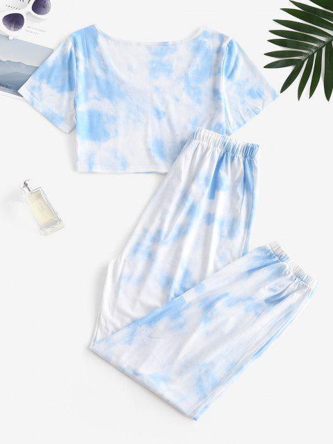 Ensemble de T-shirt Teinté et de Pantalon de Jogging à Cordon - Bleu clair L Mobile