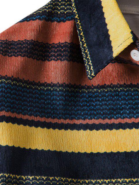 スカラップストライプポケットボタンアップコーデュロイシャツ - マルチ 3XL Mobile