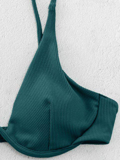 chic ZAFUL Ribbed Underwire Cami Bikini Swimsuit - DEEP GREEN S Mobile