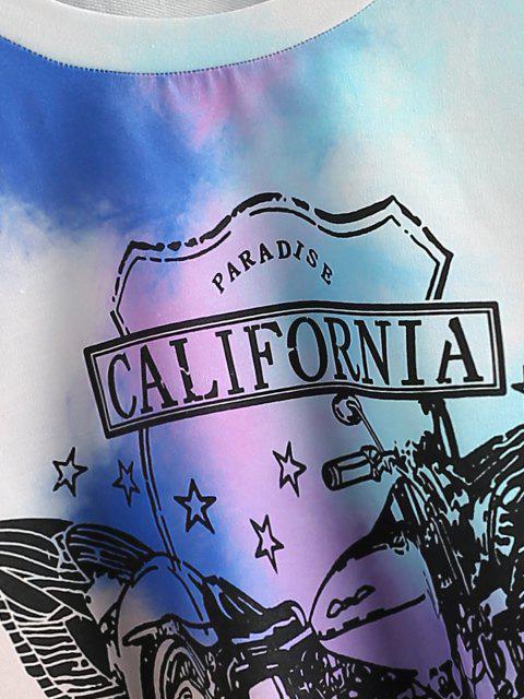 fashion Star CALIFORNIA Tie Dye Cropped Sweatshirt - LIGHT BLUE M Mobile