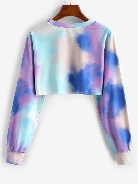 ladies Star CALIFORNIA Tie Dye Cropped Sweatshirt - LIGHT BLUE L Mobile