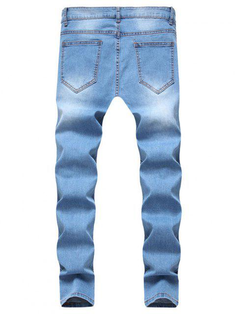 ladies Long Distressed Ripped Denim Pants - LIGHT BLUE L Mobile