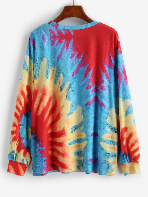 Maglietta Grafica Tinta a Nodi con Maniche Lunghe - Rosso L Mobile