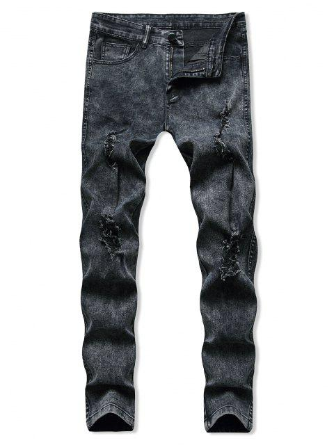 women's Distressed Destroy Wash Tapered Jeans - BLACK M Mobile