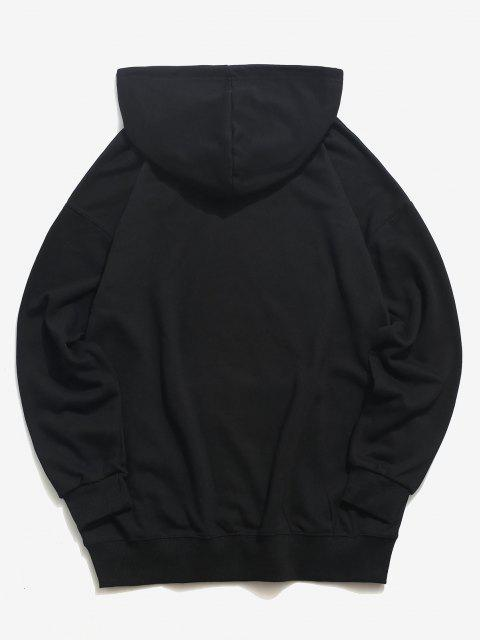 trendy Letter Print Drawstring Drop Shoulder Hoodie - BLACK 4XL Mobile