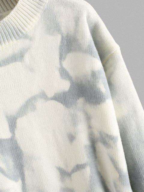 latest Tie Dye Mock Neck Drop Shoulder Sweater - LIGHT BLUE ONE SIZE Mobile