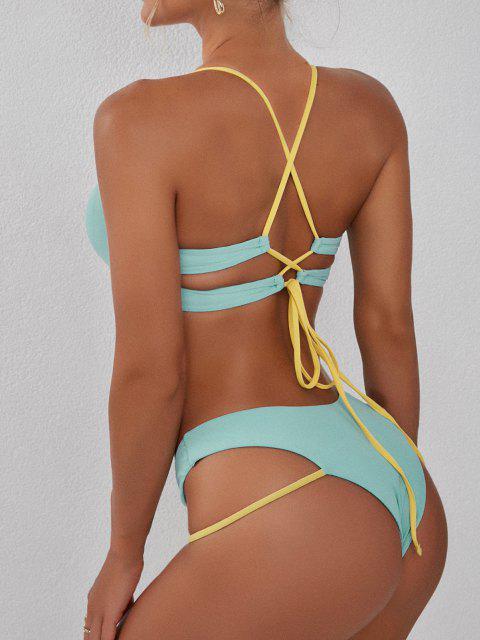 shop ZAFUL Ribbed Underboob Side Boning High Cut Bikini Swimwear - LIGHT BLUE S Mobile