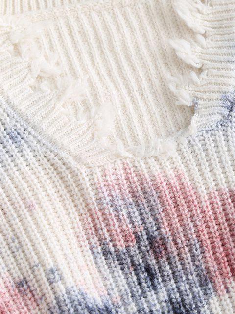 Gota Ombro Desgastado Tingimento de Gravata Camisola - Azul Um Tamanho Mobile