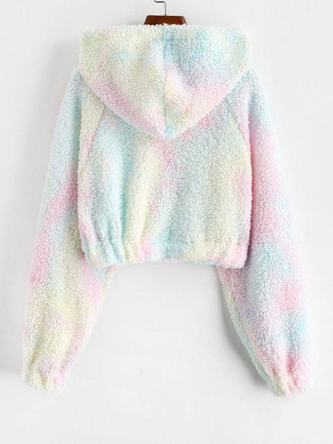 best Tie Dye Raglan Sleeve Crop Teddy Hoodie - LIGHT PINK XL Mobile