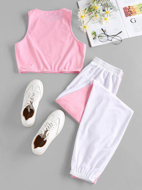 women ZAFUL Bicolor Sleeveless Sports Jogger Pants Set - PINK M Mobile