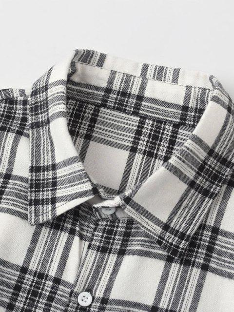 Camisa a Cuadros Bolsillo Manga Larga - Blanco 2XL Mobile