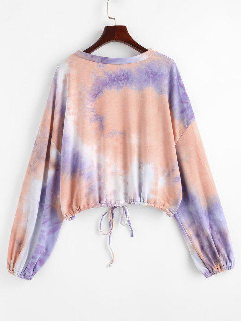 Tie Dye Drawstring Oversized Lantern Sleeve Sweatshirt - متعدد L Mobile