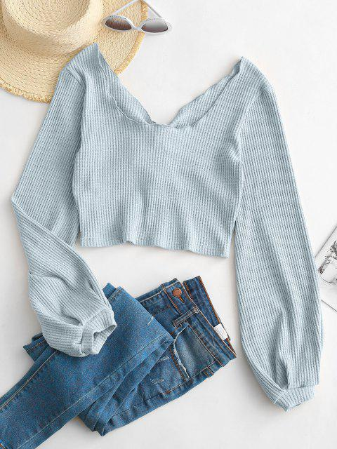 lady ZAFUL Ribbed Tie Front Heathered Top - LIGHT BLUE S Mobile