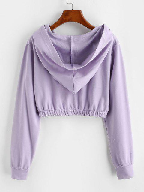 ZAFUL Pull Ring Zip Hooded Crop Jacket - ضوء ارجواني L Mobile