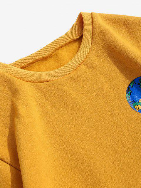 hot Peace On Earth Print Graphic Fleece Sweatshirt - YELLOW XL Mobile