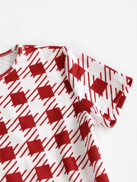shop ZAFUL Plaid Textured Bodycon Mini Dress - MULTI-A M Mobile