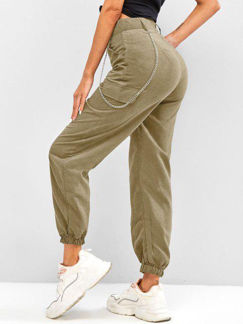 fashion High Waisted Flap Detail Chain Pants - LIGHT COFFEE XL Mobile