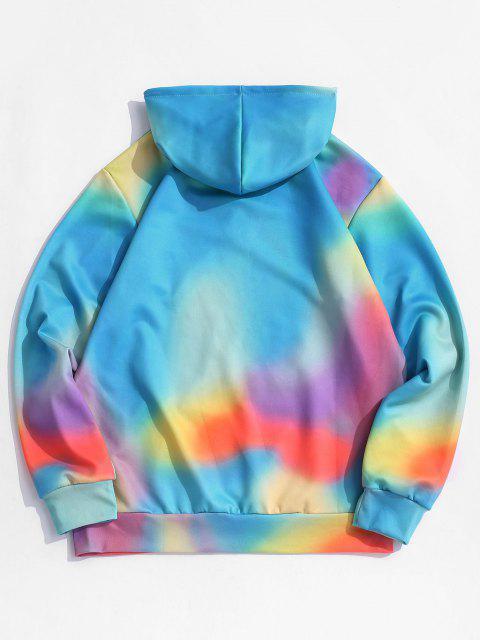 womens Tie-dye Letter Print Kangaroo Pocket Hoodie - SILK BLUE M Mobile