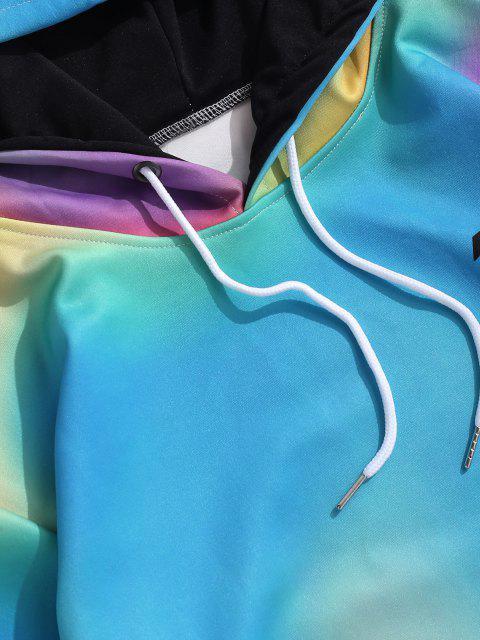 Krawattenfärbende Buchstabedruck Känguru Tasche Hoodie - Seiden Blau 2XL Mobile
