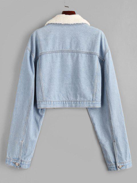 fashion Drop Shoulder Teddy Faux Shearling Collar Denim Jacket - LIGHT BLUE XL Mobile