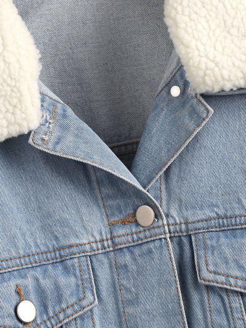 Veste à Goutte Epaule en Fausse Laine en Denim - Bleu clair S Mobile
