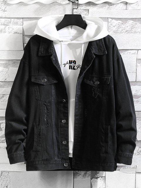 womens Distressed Ripped Letter Jean Jacket - BLACK 2XL Mobile