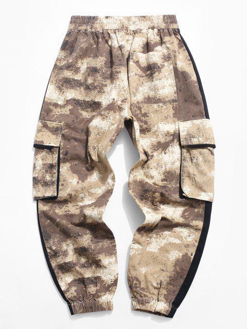 unique Camouflage Print Colorblock Panel Cargo Pants - KHAKI S Mobile