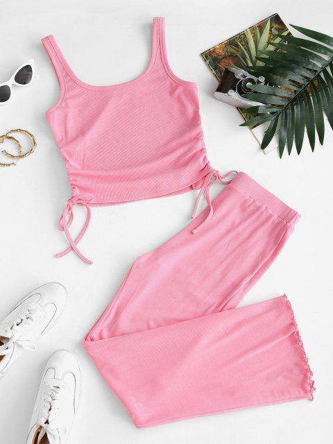 buy ZAFUL Ribbed Cinched Tie Lettuce Two Piece Pants Set - LIGHT PINK XL Mobile