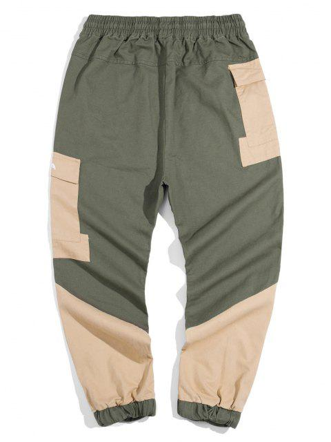 affordable Panda Color Blocking Panel Cargo Pants - ARMY GREEN XL Mobile