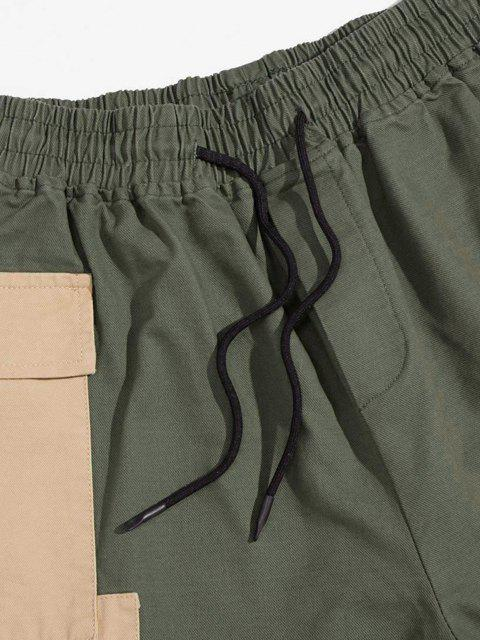 buy Panda Color Blocking Panel Cargo Pants - ARMY GREEN M Mobile