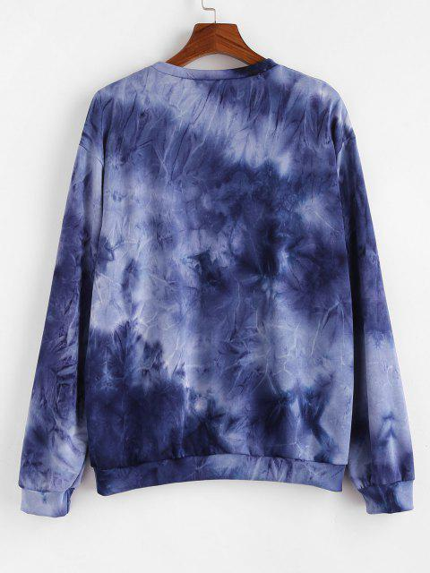 Sweat-shirt Tie-Dye Lune Soleil et Slogan - Bleu S Mobile
