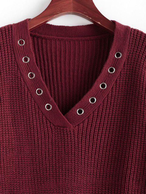 ZAFUL Tülle V Ausschnitt Fallschulter Sweatshirt - Tiefrot L Mobile