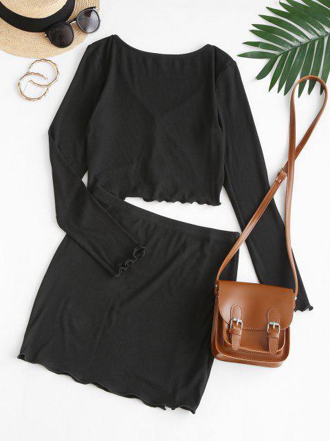 women's ZAFUL Ribbed Lettuce Plunge Two Piece Skirt Set - BLACK S Mobile