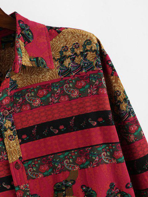 shop Bohemian Paisley Floral Print Long Sleeve Shirt - LAVA RED M Mobile