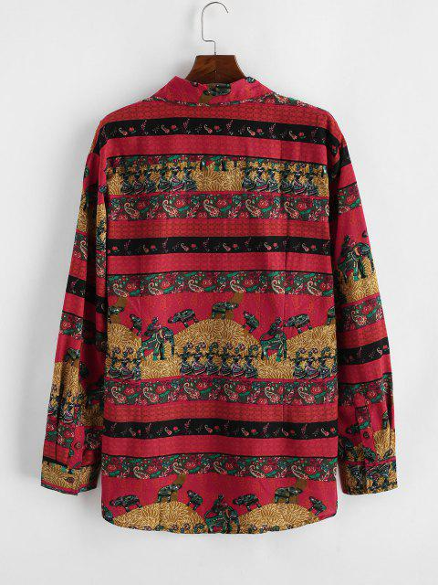 Camisa Manga Larga Estampado Floral Bohemia - Rojo Lava 2XL Mobile
