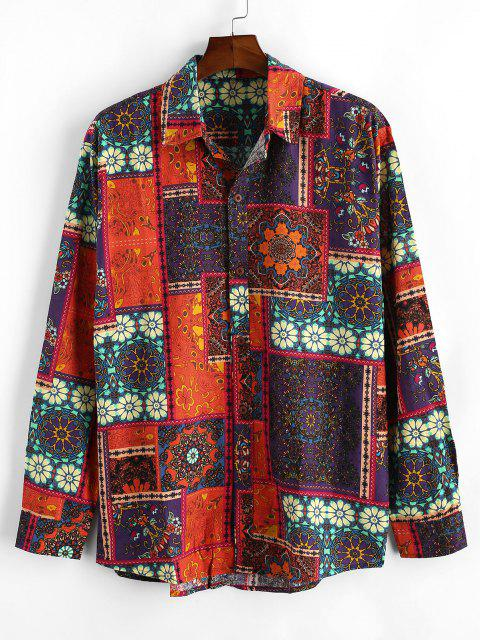 trendy Flower Patchwork Print Long Sleeve Shirt - MULTI 2XL Mobile