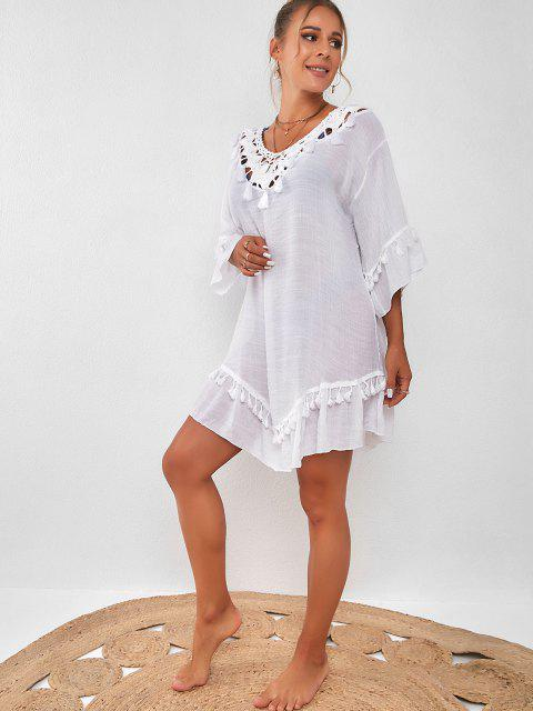 trendy Tassel Crochet Panel Beach Dress - WHITE ONE SIZE Mobile
